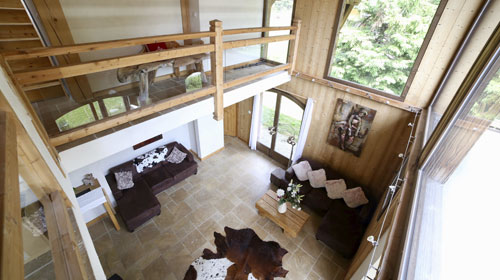 Looking down on the living area